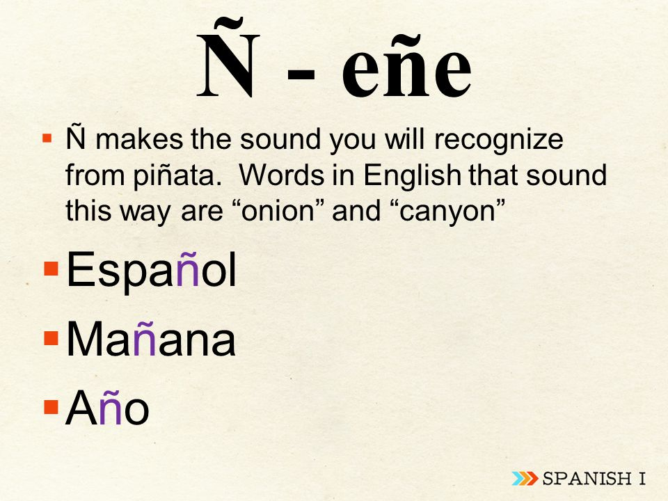 Ñ - eñe  Ñ makes the sound you will recognize from piñata.