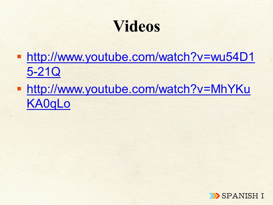 Videos  http://www.youtube.com/watch v=wu54D1 5-21Q http://www.youtube.com/watch v=wu54D1 5-21Q  http://www.youtube.com/watch v=MhYKu KA0qLo http://www.youtube.com/watch v=MhYKu KA0qLo