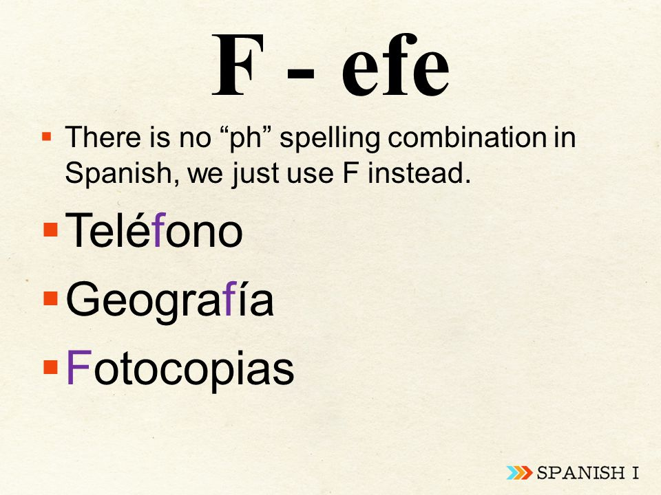"F - efe  There is no ""ph"" spelling combination in Spanish, we just use F instead.  Teléfono  Geografía  Fotocopias"