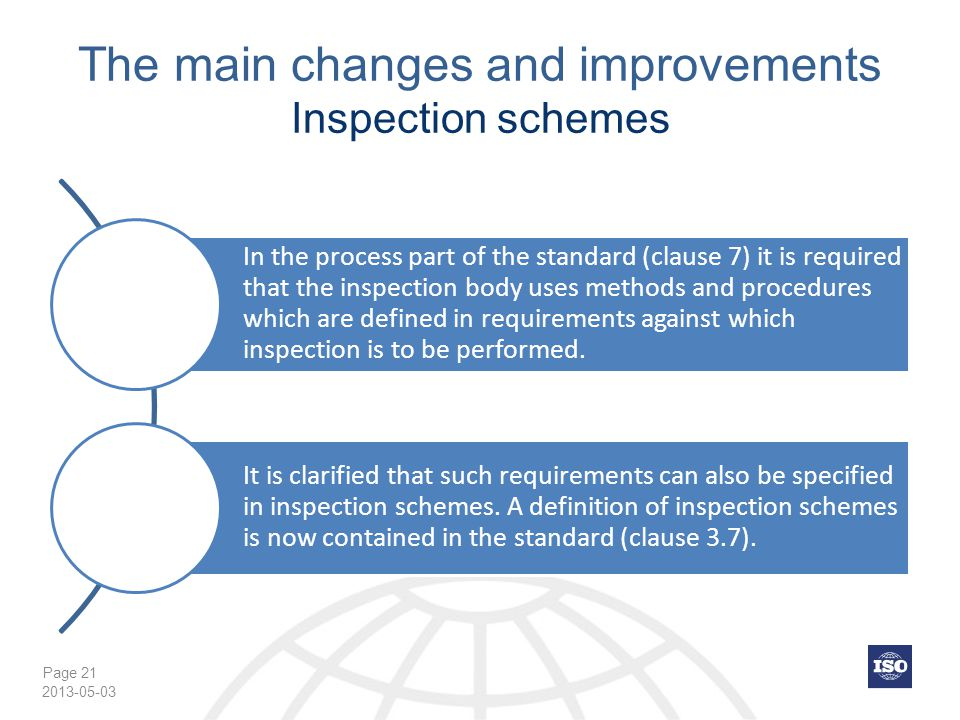 Page 21 The main changes and improvements Inspection schemes In the process part of the standard (clause 7) it is required that the inspection body uses methods and procedures which are defined in requirements against which inspection is to be performed.