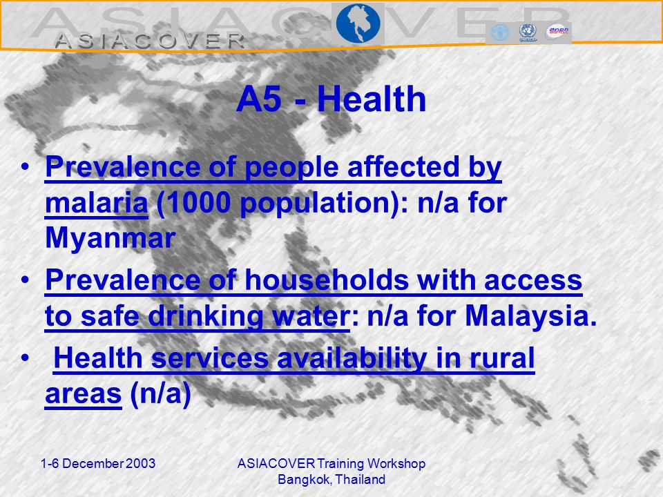 1-6 December 2003ASIACOVER Training Workshop Bangkok, Thailand A5 - Health Prevalence of people affected by malaria (1000 population): n/a for Myanmar Prevalence of households with access to safe drinking water: n/a for Malaysia.
