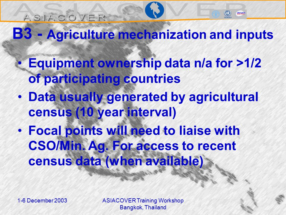 1-6 December 2003ASIACOVER Training Workshop Bangkok, Thailand B3 - Agriculture mechanization and inputs Equipment ownership data n/a for >1/2 of participating countries Data usually generated by agricultural census (10 year interval) Focal points will need to liaise with CSO/Min.