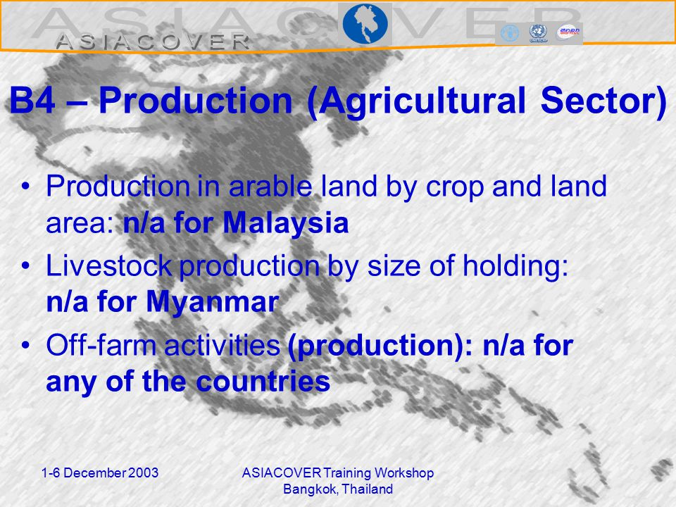 1-6 December 2003ASIACOVER Training Workshop Bangkok, Thailand B4 – Production (Agricultural Sector) Production in arable land by crop and land area: n/a for Malaysia Livestock production by size of holding: n/a for Myanmar Off-farm activities (production): n/a for any of the countries
