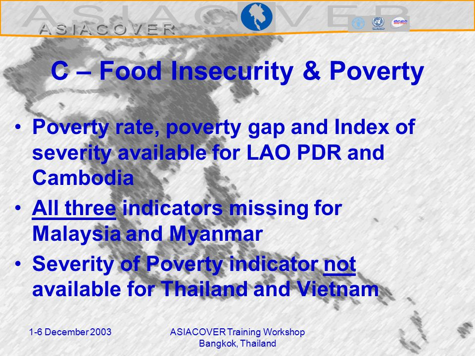 1-6 December 2003ASIACOVER Training Workshop Bangkok, Thailand C – Food Insecurity & Poverty Poverty rate, poverty gap and Index of severity available for LAO PDR and Cambodia All three indicators missing for Malaysia and Myanmar Severity of Poverty indicator not available for Thailand and Vietnam