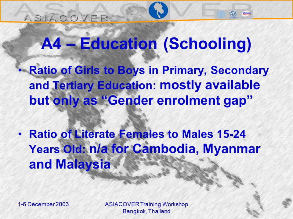 1-6 December 2003ASIACOVER Training Workshop Bangkok, Thailand A4 – Education (Schooling) Ratio of Girls to Boys in Primary, Secondary and Tertiary Education: mostly available but only as Gender enrolment gap Ratio of Literate Females to Males 15-24 Years Old: n/a for Cambodia, Myanmar and Malaysia