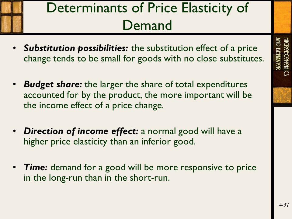 4-37 Determinants of Price Elasticity of Demand Substitution possibilities: the substitution effect of a price change tends to be small for goods with no close substitutes.