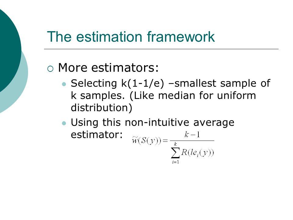The estimation framework  More estimators: Selecting k(1-1/e) –smallest sample of k samples.