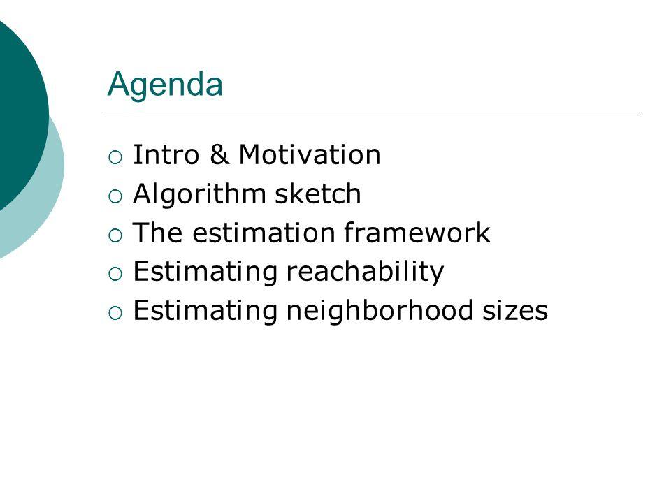 Agenda  Intro & Motivation  Algorithm sketch  The estimation framework  Estimating reachability  Estimating neighborhood sizes