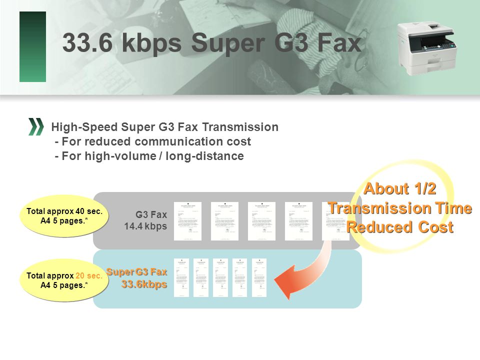 33.6 kbps Super G3 Fax High-Speed Super G3 Fax Transmission - For reduced communication cost - For high-volume / long-distance Super G3 Fax 33.6kbps Super G3 Fax 33.6kbps G3 Fax 14.4 kbps Total approx 40 sec.
