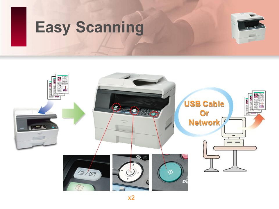 Easy Scanning USB Cable Or Network USB Cable Or Network x2