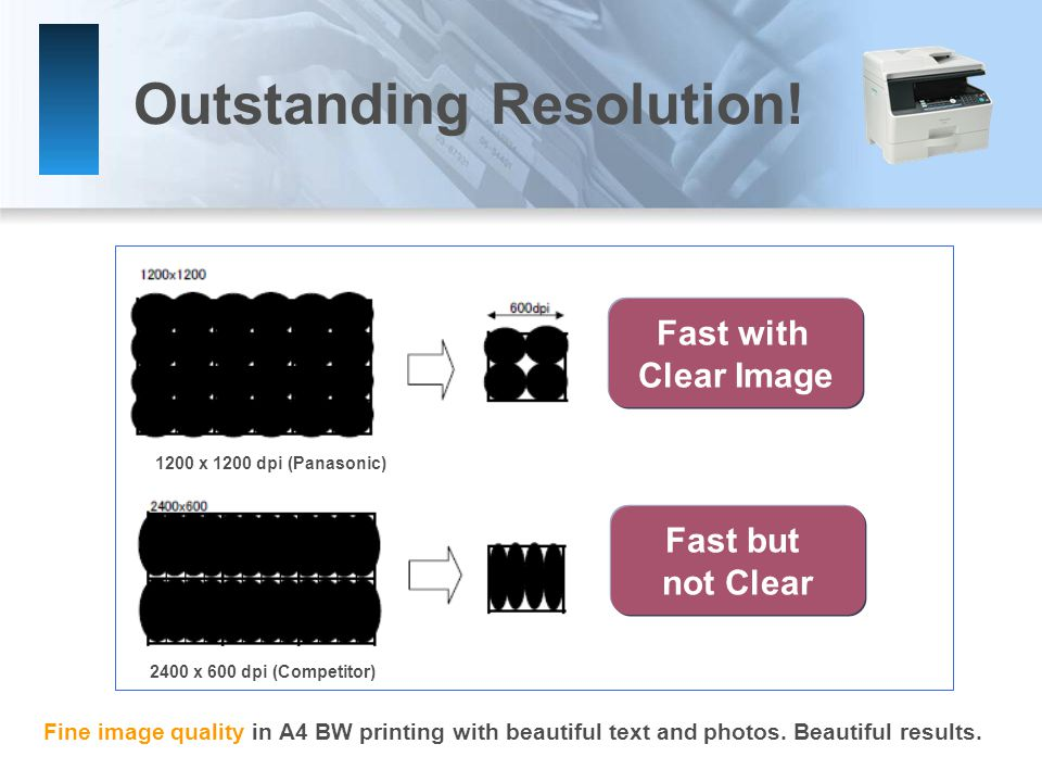 Outstanding Resolution. Fine image quality in A4 BW printing with beautiful text and photos.