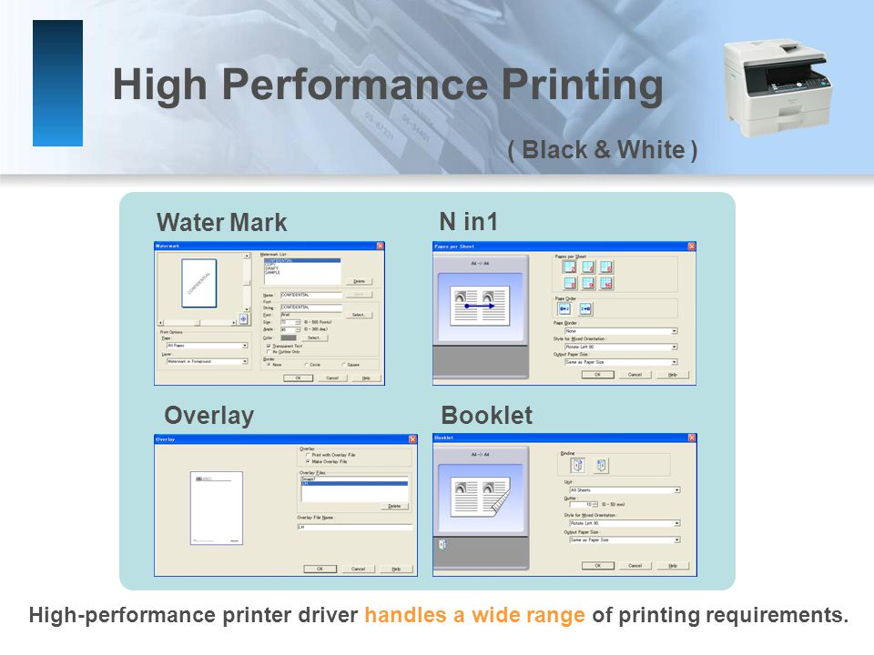 High Performance Printing Water Mark N in1 OverlayBooklet High-performance printer driver handles a wide range of printing requirements.