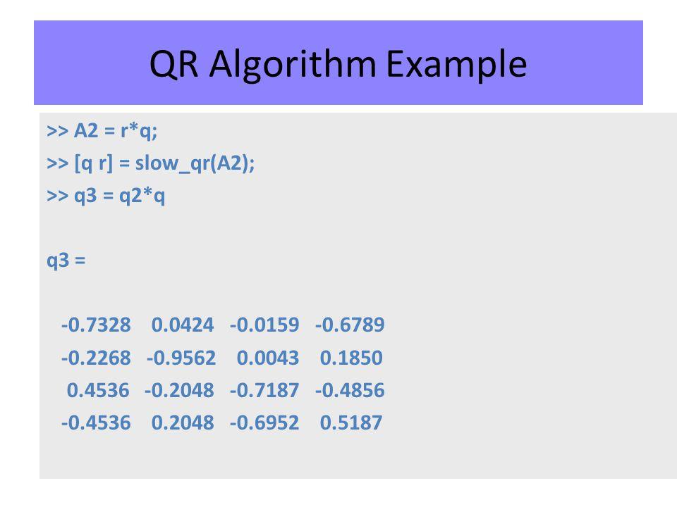 QR Algorithm Example >> A2 = r*q; >> [q r] = slow_qr(A2); >> q3 = q2*q q3 = -0.7328 0.0424 -0.0159 -0.6789 -0.2268 -0.9562 0.0043 0.1850 0.4536 -0.2048 -0.7187 -0.4856 -0.4536 0.2048 -0.6952 0.5187