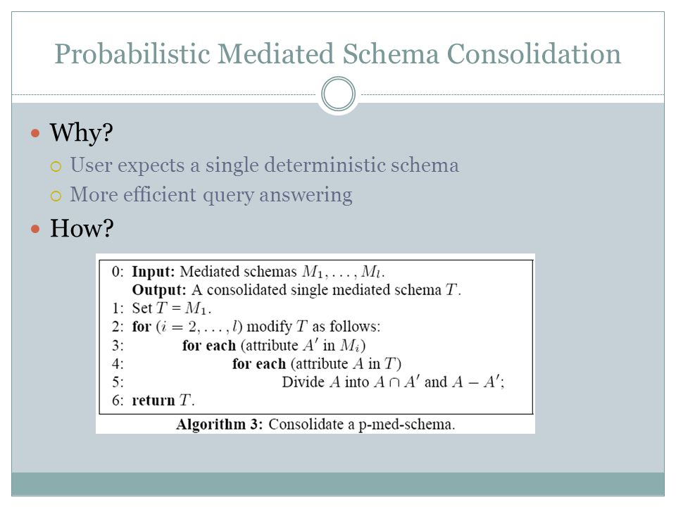 Probabilistic Mediated Schema Consolidation Why.