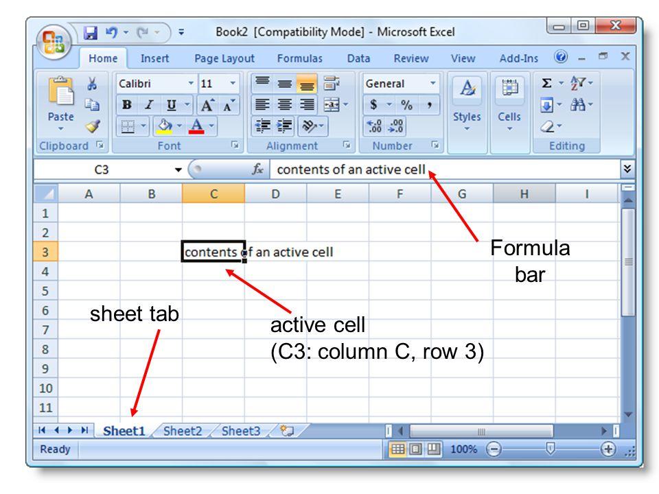 Formula bar sheet tab active cell (C3: column C, row 3)