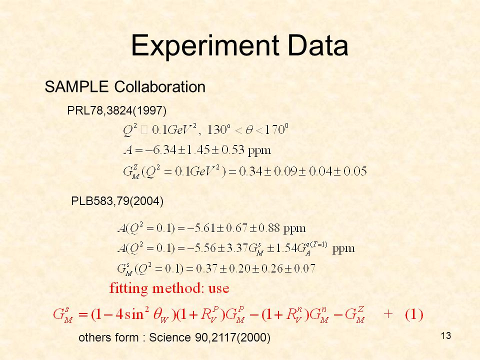 13 Experiment Data SAMPLE Collaboration PLB583,79(2004) others form : Science 90,2117(2000) PRL78,3824(1997)