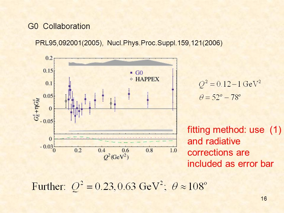 16 G0 Collaboration PRL95,092001(2005), Nucl.Phys.Proc.Suppl.159,121(2006) fitting method: use (1) and radiative corrections are included as error bar