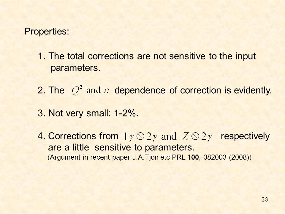 33 Properties: 1.The total corrections are not sensitive to the input parameters. 2.The dependence of correction is evidently. 3.Not very small: 1-2%.