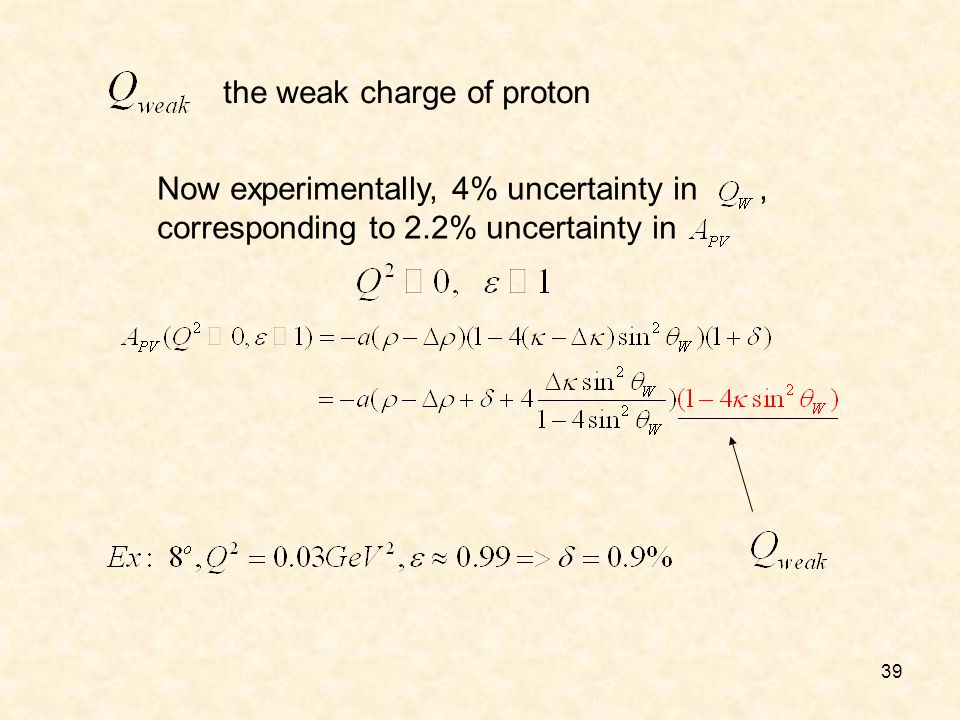 39 Now experimentally, 4% uncertainty in, corresponding to 2.2% uncertainty in the weak charge of proton