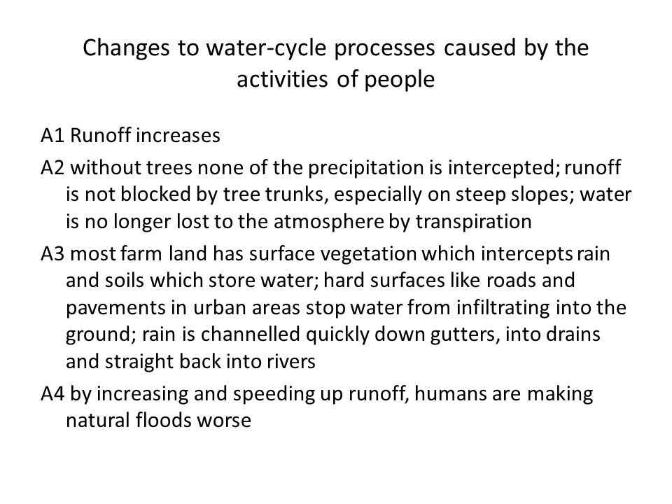Changes to water-cycle processes caused by the activities of people A1 Runoff increases A2 without trees none of the precipitation is intercepted; run