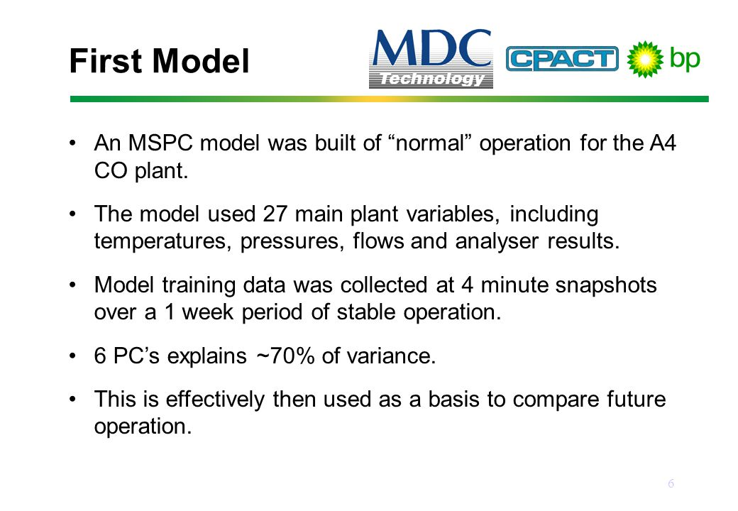 6 First Model An MSPC model was built of normal operation for the A4 CO plant.