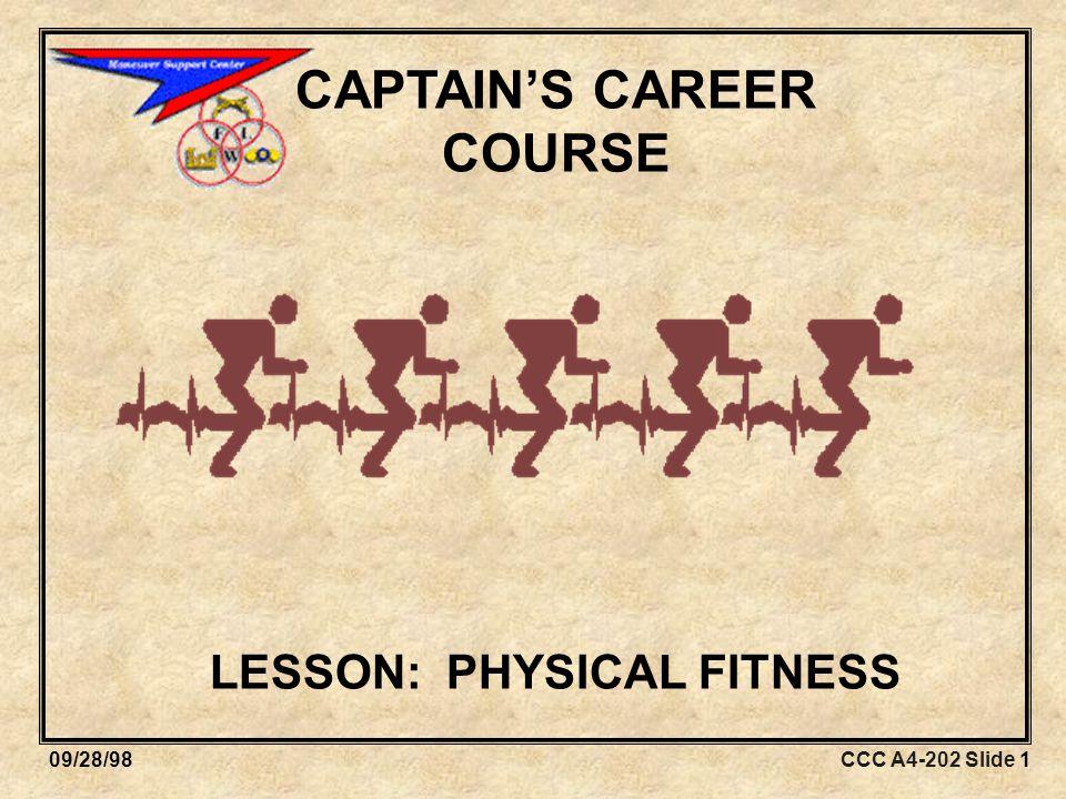 CCC A4-202 Slide 4209/28/98 STEP 2: DEVELOP FITNESS OBJECTIVES Identify specific fitness tasks.