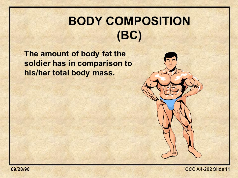 CCC A4-202 Slide 1109/28/98 BODY COMPOSITION (BC) The amount of body fat the soldier has in comparison to his/her total body mass.