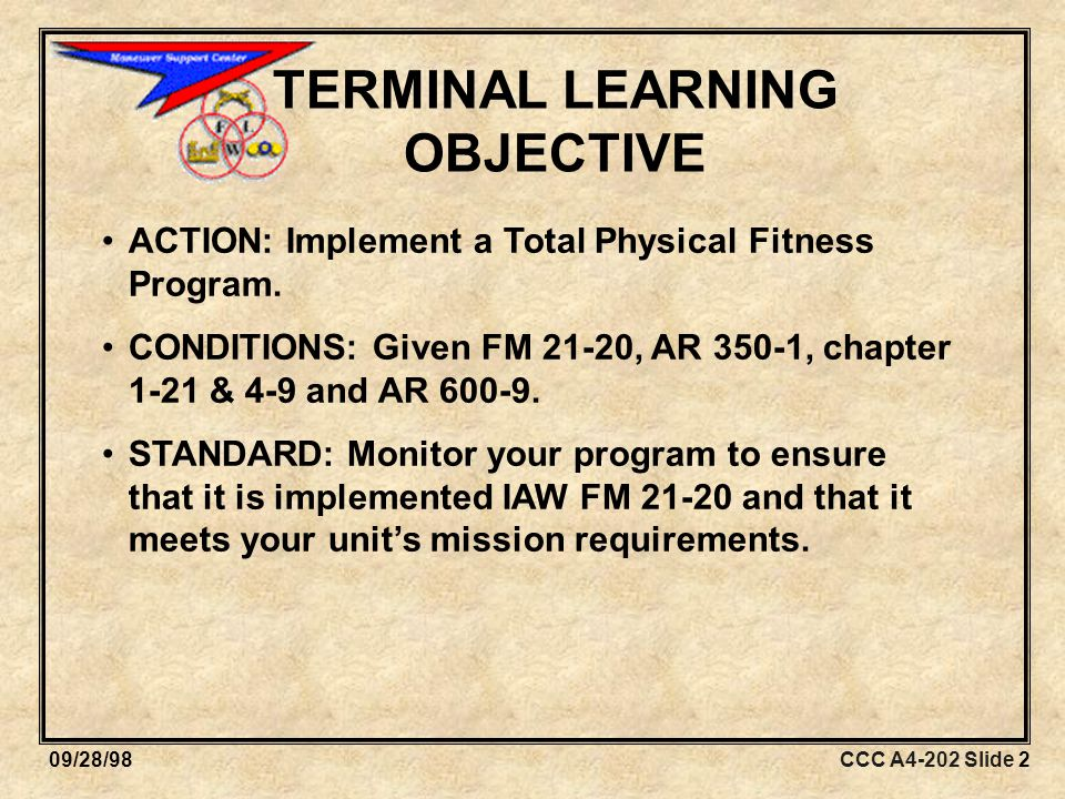 CCC A4-202 Slide 8309/28/98 Required Equipment  Copy of FM 21-20  Clipboard and pen to record scores on scorecards  Two stopwatches  Numbers for runners  Scorecards for each soldier