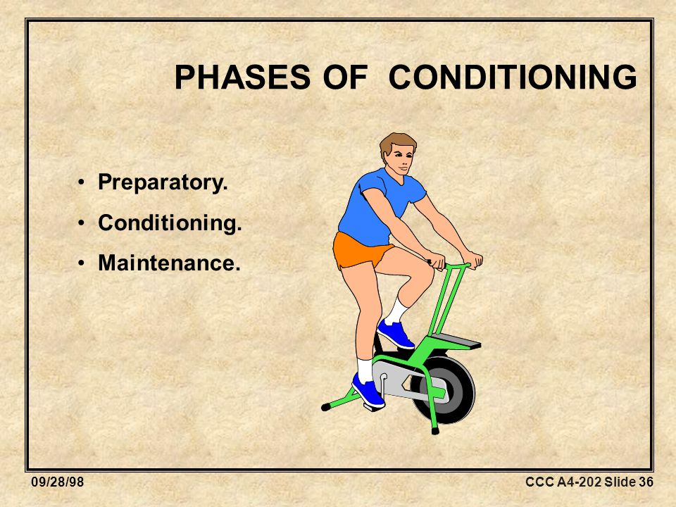 CCC A4-202 Slide 3609/28/98 PHASES OF CONDITIONING Preparatory. Conditioning. Maintenance.