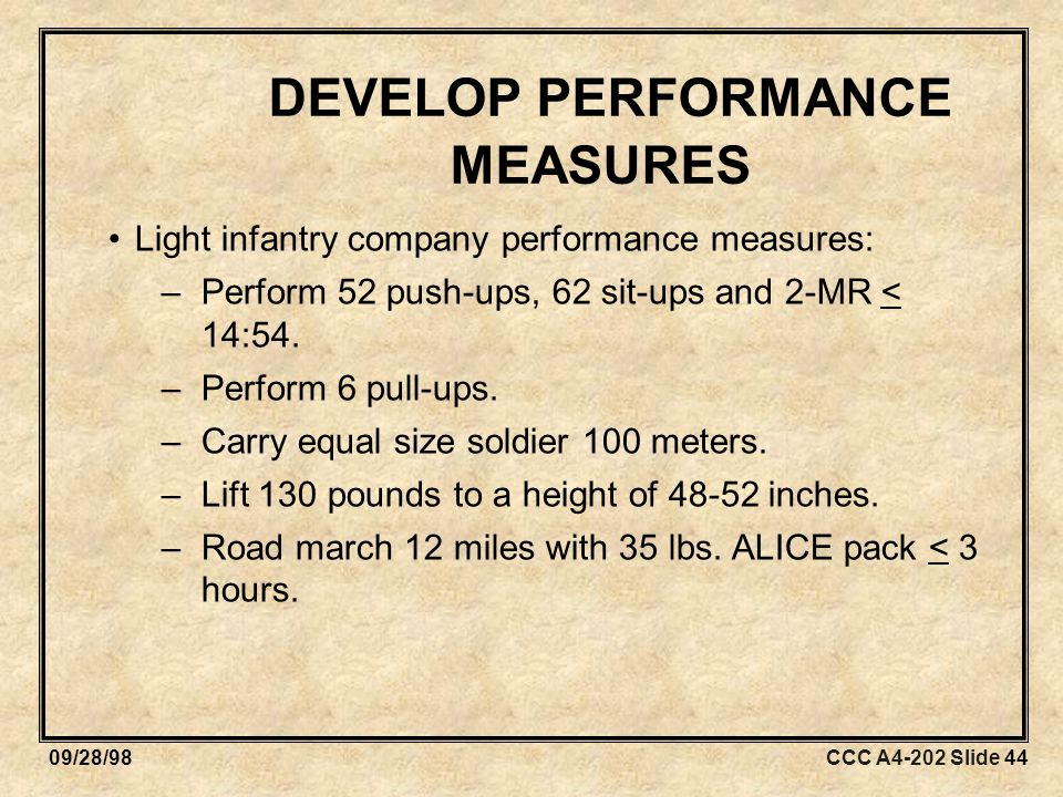 CCC A4-202 Slide 4409/28/98 DEVELOP PERFORMANCE MEASURES Light infantry company performance measures: –Perform 52 push-ups, 62 sit-ups and 2-MR < 14:54.