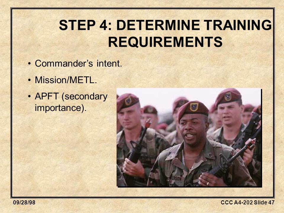 CCC A4-202 Slide 4709/28/98 STEP 4: DETERMINE TRAINING REQUIREMENTS Commander's intent.