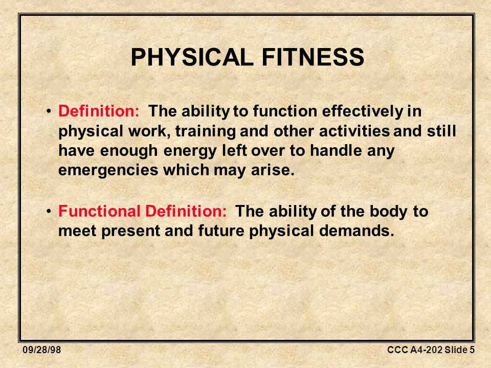CCC A4-202 Slide 4609/28/98 Utilizing performance measures: –Identify current fitness level.