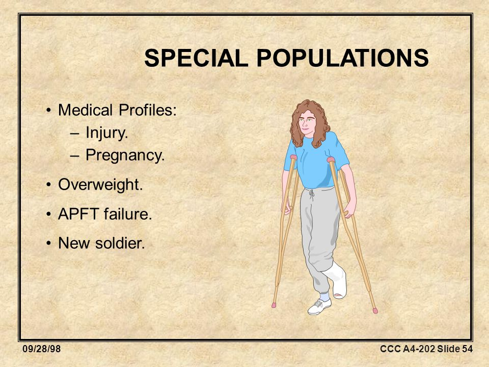 CCC A4-202 Slide 5409/28/98 SPECIAL POPULATIONS Medical Profiles: –Injury.