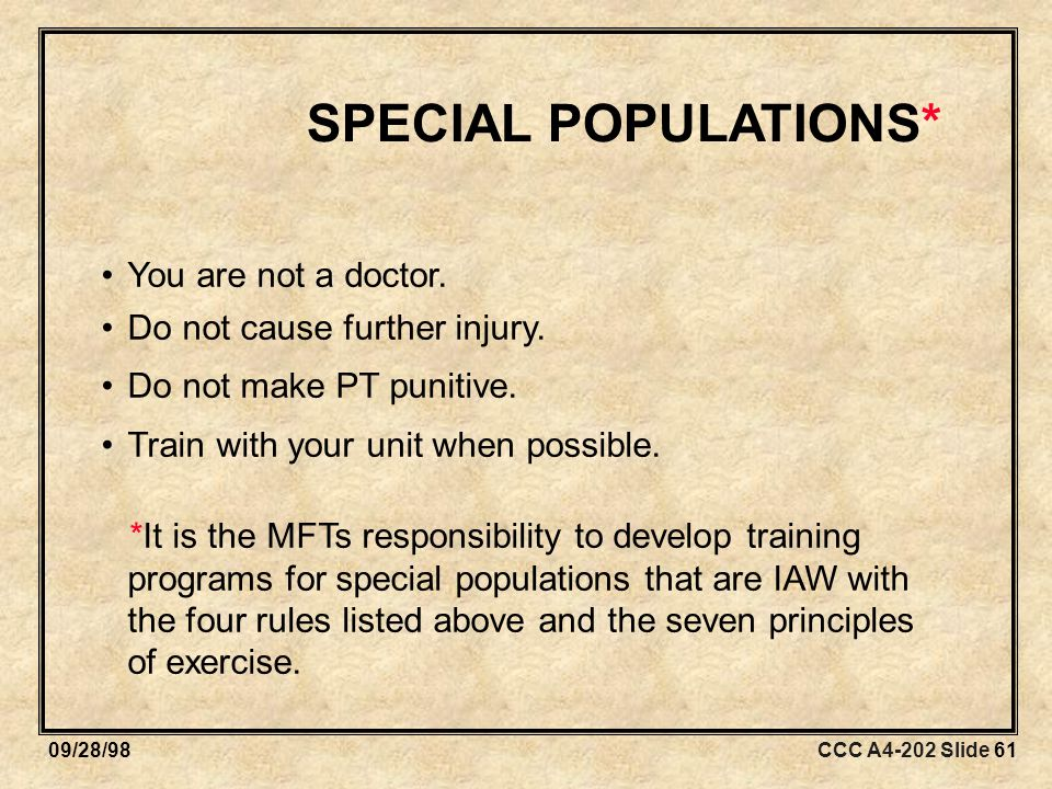 CCC A4-202 Slide 6109/28/98 SPECIAL POPULATIONS* You are not a doctor.