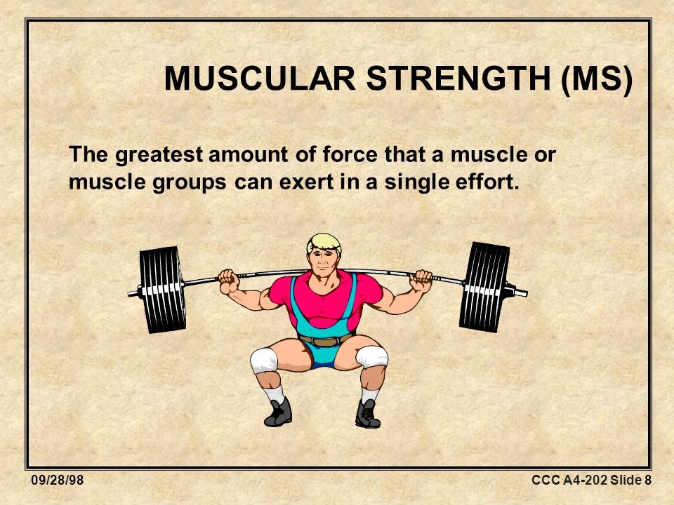 CCC A4-202 Slide 909/28/98 MUSCULAR ENDURANCE (ME) The ability of a muscle or muscle group to perform repeated movements with a sub-maximal force for extended periods of time.