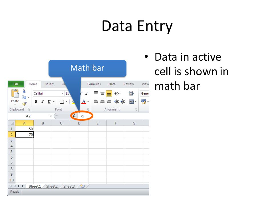 Data Entry Data in active cell is shown in math bar Math bar