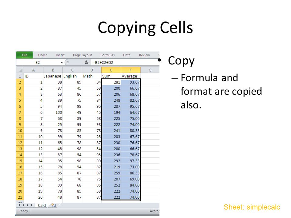 Copying Cells Copy – Formula and format are copied also. Sheet: simplecalc