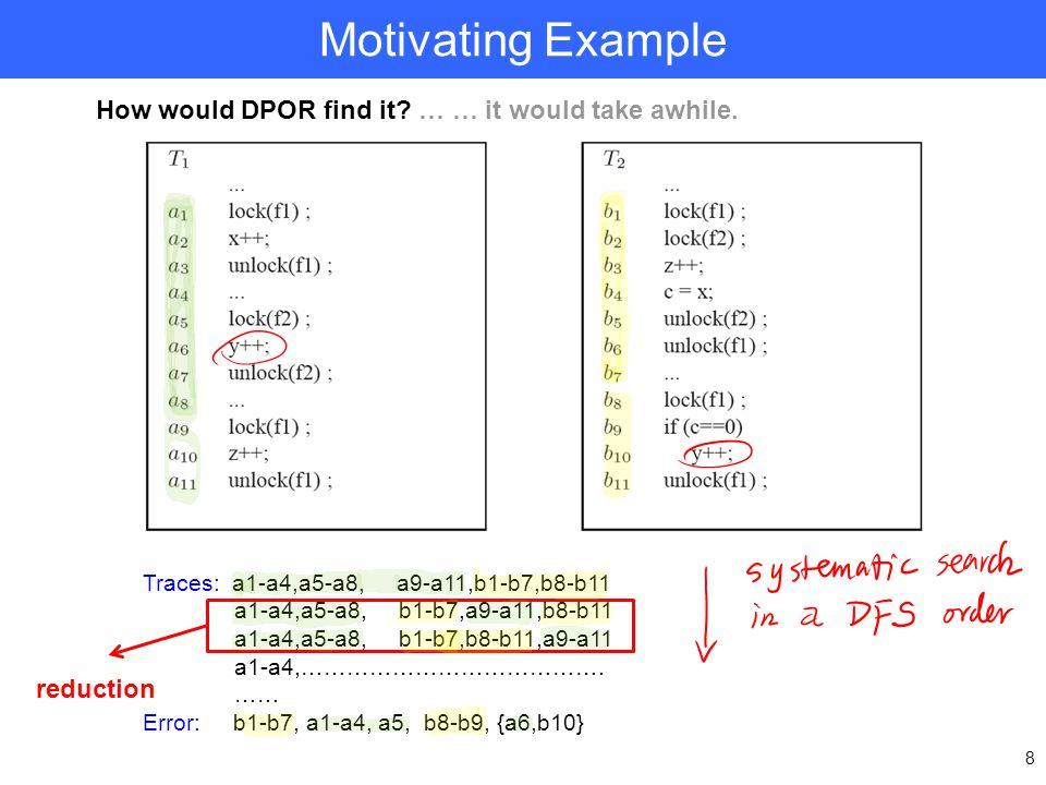 Motivating Example 8 Traces: a1-a4,a5-a8, a9-a11,b1-b7,b8-b11 a1-a4,a5-a8, b1-b7,a9-a11,b8-b11 a1-a4,a5-a8, b1-b7,b8-b11,a9-a11 a1-a4,…………………………………. …