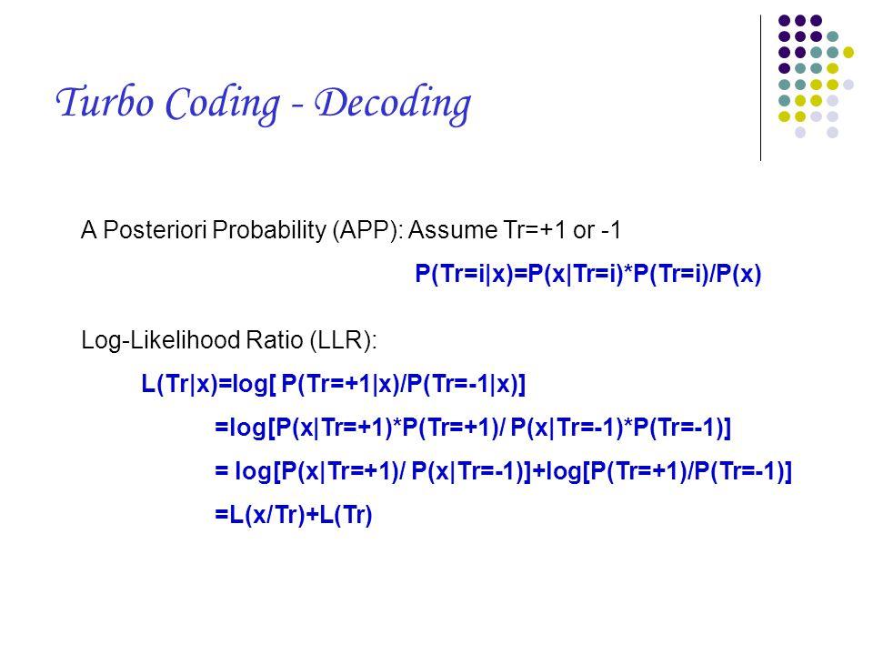 A Posteriori Probability (APP): Assume Tr=+1 or -1 P(Tr=i|x)=P(x|Tr=i)*P(Tr=i)/P(x) Log-Likelihood Ratio (LLR): L(Tr|x)=log[ P(Tr=+1|x)/P(Tr=-1|x)] =log[P(x|Tr=+1)*P(Tr=+1)/ P(x|Tr=-1)*P(Tr=-1)] = log[P(x|Tr=+1)/ P(x|Tr=-1)]+log[P(Tr=+1)/P(Tr=-1)] =L(x/Tr)+L(Tr) Turbo Coding - Decoding