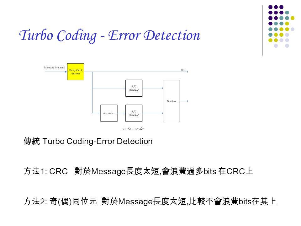Turbo Coding - Error Detection 傳統 Turbo Coding-Error Detection 方法 1: CRC 對於 Message 長度太短, 會浪費過多 bits 在 CRC 上 方法 2: 奇 ( 偶 ) 同位元 對於 Message 長度太短, 比較不會浪費 bits 在其上