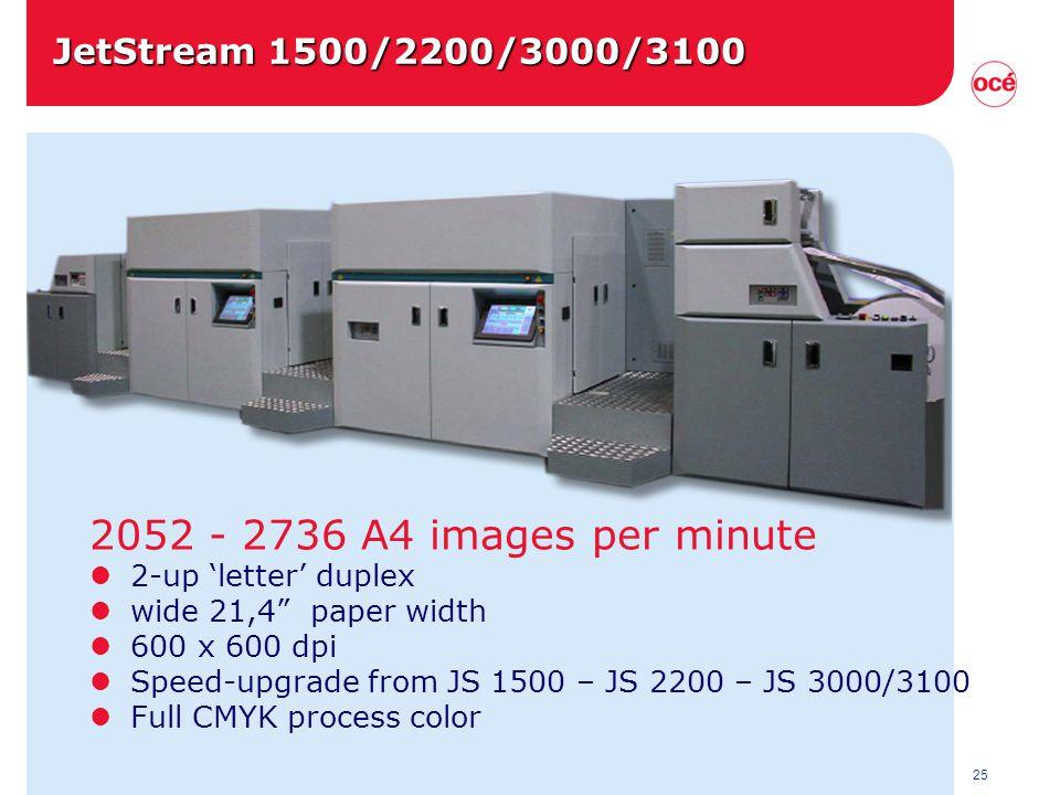 25 2052 - 2736 A4 images per minute l 2-up 'letter' duplex l wide 21,4 paper width l 600 x 600 dpi l Speed-upgrade from JS 1500 – JS 2200 – JS 3000/3100 l Full CMYK process color JetStream 1500/2200/3000/3100