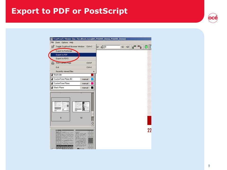 9 Export to PDF or PostScript