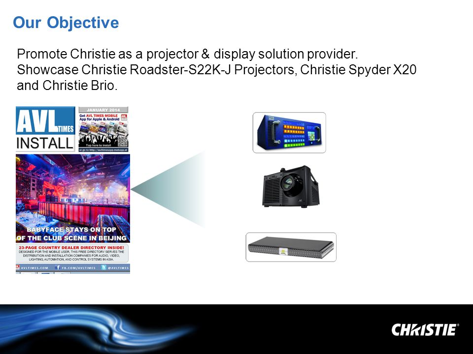 Our Objective Promote Christie as a projector & display solution provider.