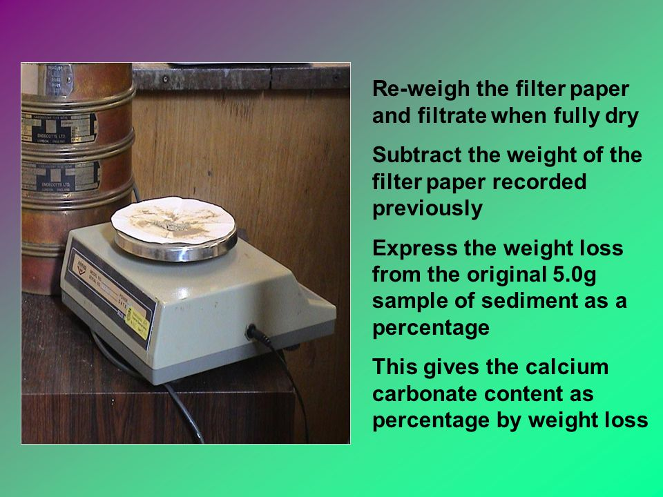Re-weigh the filter paper and filtrate when fully dry Subtract the weight of the filter paper recorded previously Express the weight loss from the original 5.0g sample of sediment as a percentage This gives the calcium carbonate content as percentage by weight loss