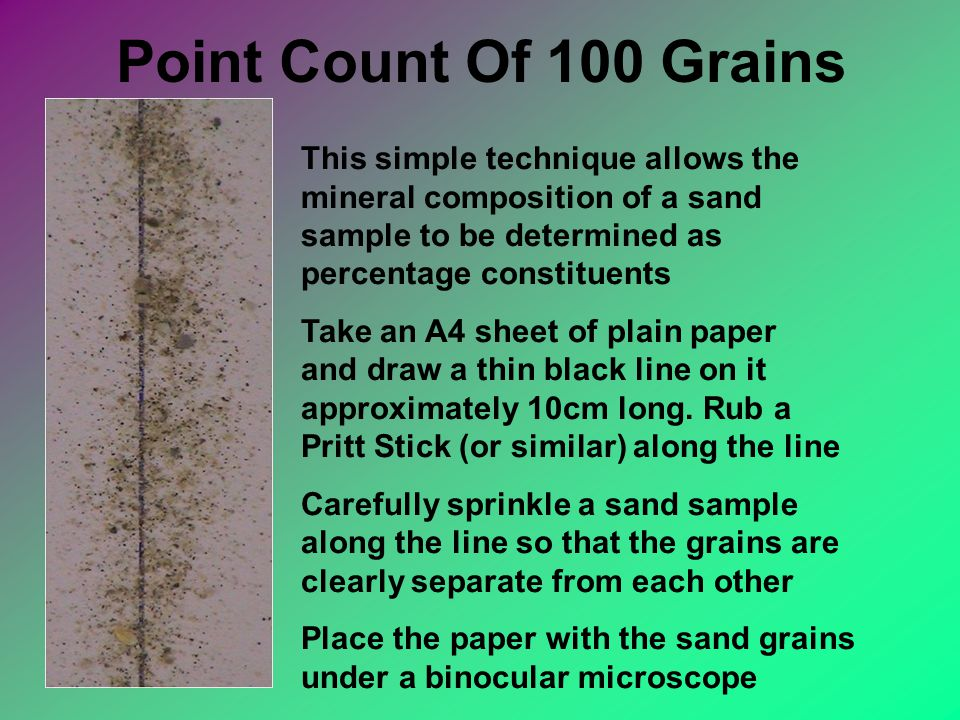 Point Count Of 100 Grains This simple technique allows the mineral composition of a sand sample to be determined as percentage constituents Take an A4 sheet of plain paper and draw a thin black line on it approximately 10cm long.