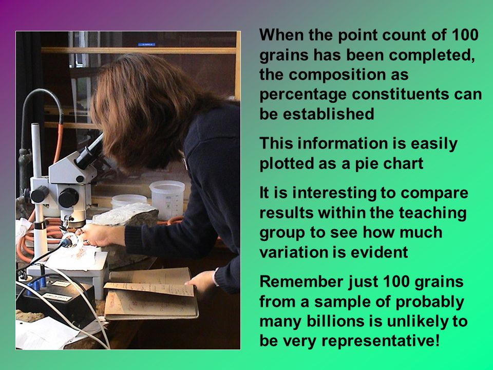 When the point count of 100 grains has been completed, the composition as percentage constituents can be established This information is easily plotted as a pie chart It is interesting to compare results within the teaching group to see how much variation is evident Remember just 100 grains from a sample of probably many billions is unlikely to be very representative!