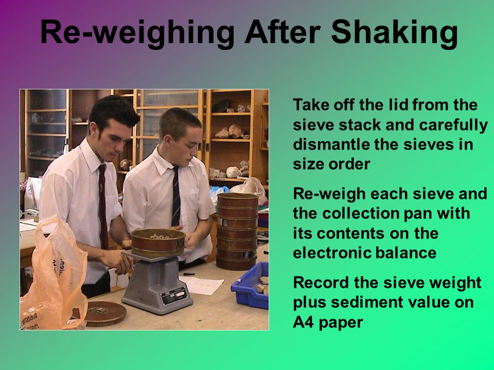 Re-weighing After Shaking Take off the lid from the sieve stack and carefully dismantle the sieves in size order Re-weigh each sieve and the collection pan with its contents on the electronic balance Record the sieve weight plus sediment value on A4 paper