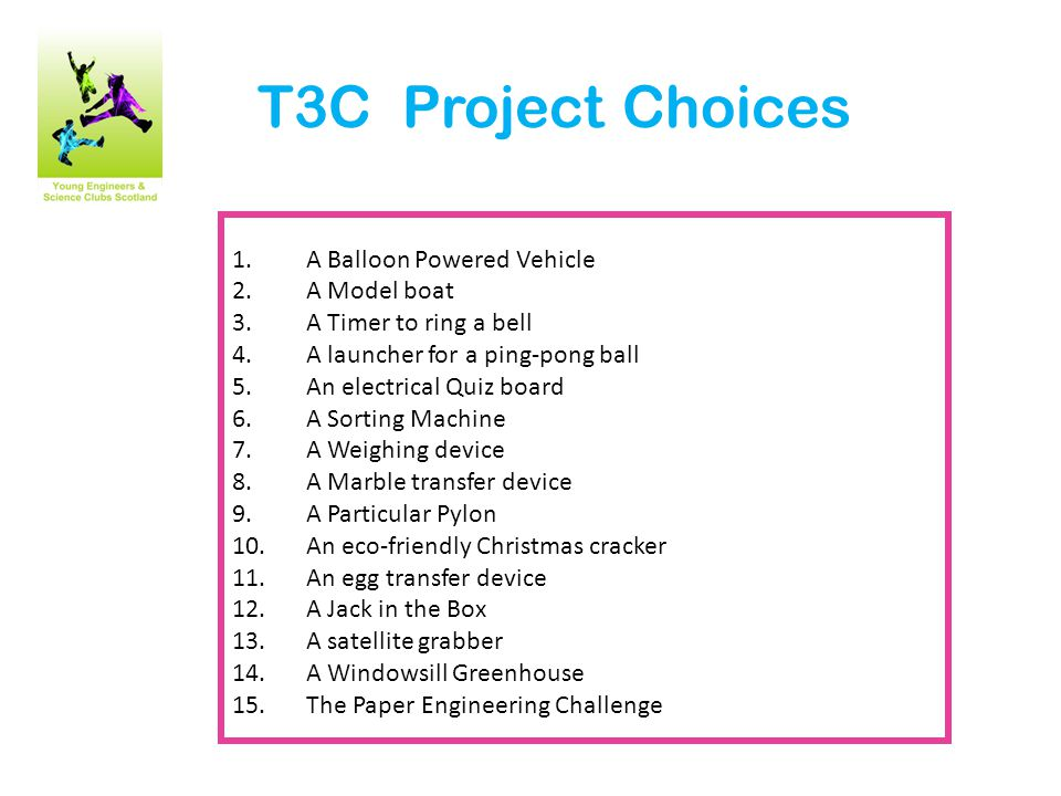 T3C The Design Process The general principles are the same for any project: 1.Define the problem being solved Be able to state clearly what you are setting out to achieve 2.Consider a number of solutions Brainstorm a few different design ideas before you start to make anything 3.Carry out research Ask questions, interview experts, search on-line, look up books etc Carry out simple experiments to help you make design decisions (e.g.