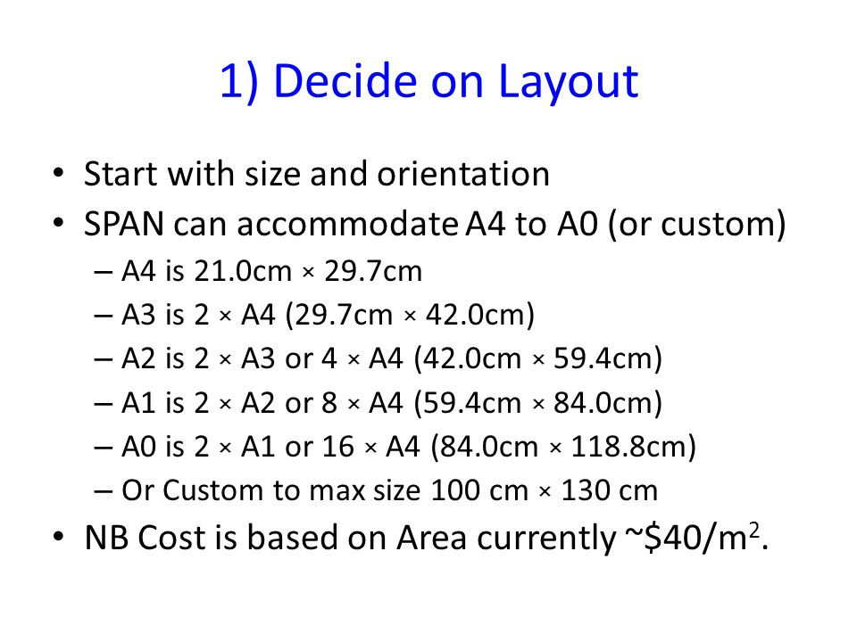 1) Decide on Layout Start with size and orientation SPAN can accommodate A4 to A0 (or custom) – A4 is 21.0cm × 29.7cm – A3 is 2 × A4 (29.7cm × 42.0cm) – A2 is 2 × A3 or 4 × A4 (42.0cm × 59.4cm) – A1 is 2 × A2 or 8 × A4 (59.4cm × 84.0cm) – A0 is 2 × A1 or 16 × A4 (84.0cm × 118.8cm) – Or Custom to max size 100 cm × 130 cm NB Cost is based on Area currently ~$40/m 2.
