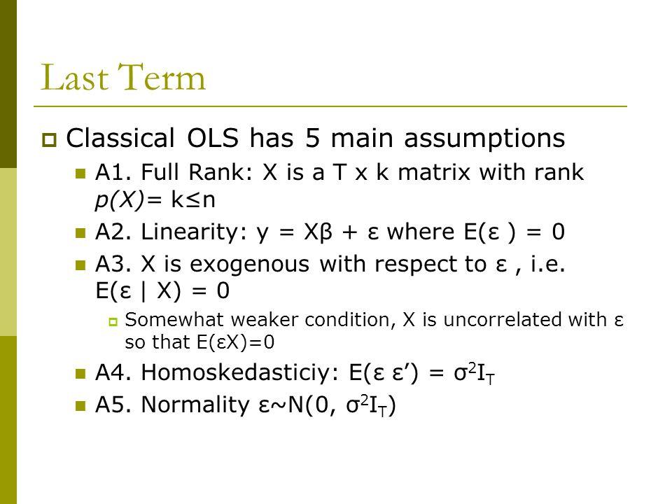 Last Term  Classical OLS has 5 main assumptions A1.